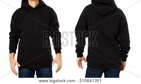 Black Male Sweatshirt Set Template Isolated. Man Sweatshirts Set With Mockup And Copy Space. Hoody D