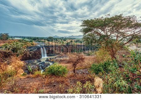 Beautiful View Of Blue Nile Falls Without Water In Dry Season. Fill On The Blue Nile River. Nature A