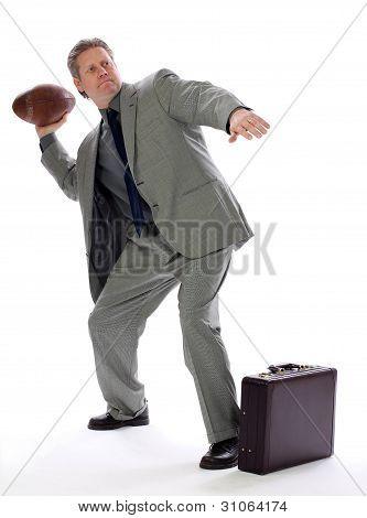 Business Man Throws a Football