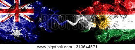 Australia Vs Kurdistan, Kurdish Smoky Mystic Flags Placed Side By Side. Thick Colored Silky Smokes C