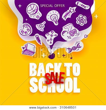 Back To School Sale Banner With Line Art Icons Of Education, Science Objects On Paper Art Cut Out Ic