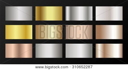 Silver, platinum, bronze, pink gold vector metallic gradients. Badges set. Shiny chrome, alloy, aluminum, titanium, copper, silver, yellow and pink gold, platinum, steel, bronze background swatches. poster