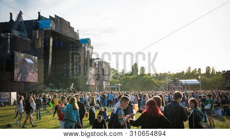 Kyiv, Ukraine - 07.09.2019: Atlas Weekend Music Festival Outdoors, First Day. Millennials Are Relaxi