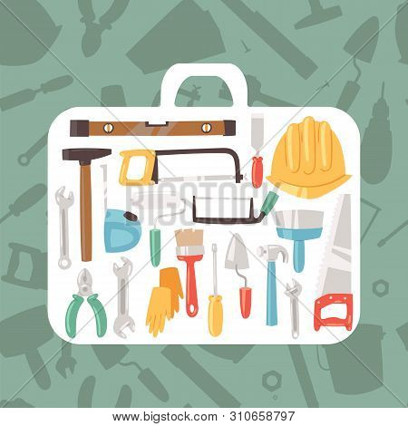Building Tools In Case Banner Vector Illustration. Home Repair Service. Construction Equipment. Hand