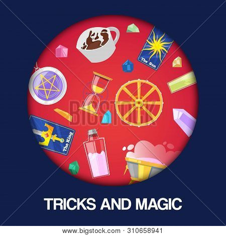 Magic Show, Tricks Performance, Circus Background Banner Vector Illustration. Accessories For Magici