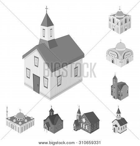 Vector Illustration Of Landmark And Clergy Logo. Collection Of Landmark And Religion Stock Vector Il