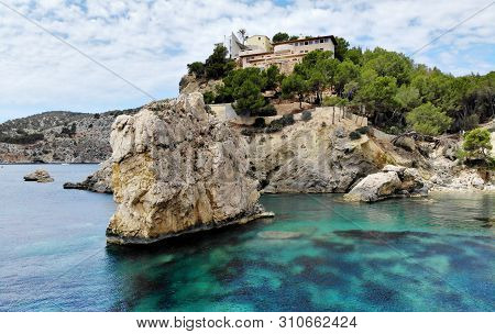 Huge Stones Rcky Coast Of Cala En Cranc Of Mallorca, Picturesque Nature Turquoise Mediterranean Wate