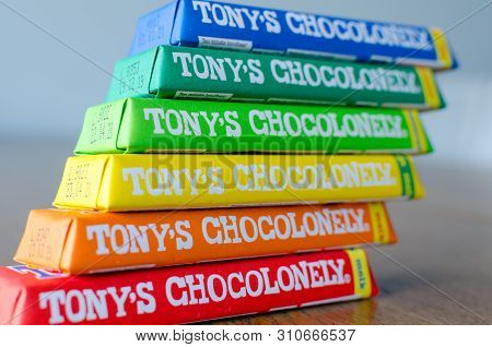 Amsterdam, Netherlands - May 04 2019: Tonys Chocolonely Milk Chocolate. Fair Trade Chocolate Made By