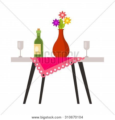 Isolated Object Of Table And Vase Logo. Set Of Table And Diner Stock Symbol For Web.