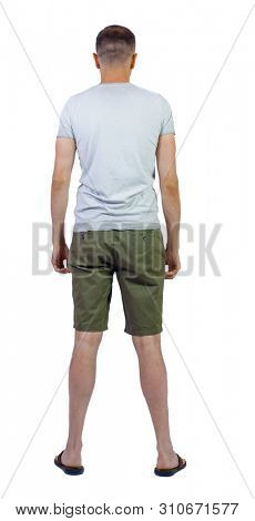 Back view of young manin shorts looking.  Rear view people collection.  backside view of person.  Isolated over white background. The guy in shorts and flip-flops.
