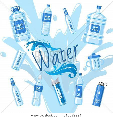 Water Bottles Made Of Plastic Banner Vector Illustration. Healthy Agua Bottles With Label. Clean Pur