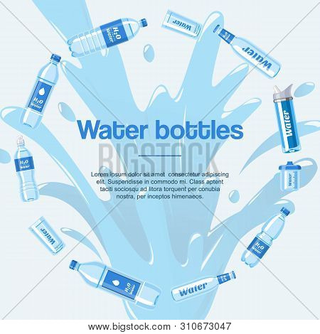 Water Bottles Made Of Plastic In Circle Banner Vector Illustration. Healthy Agua Bottles With Label.