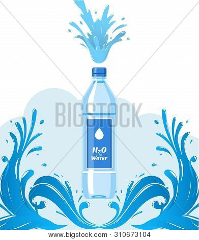 Water Bottle Made Of Plastic Banner Vector Illustration. Healthy Agua Bottles With Label. Clean Pure