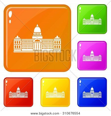 Palace Of Congress In Buenos Aires, Argentina Icons Set Collection Vector 6 Color Isolated On White