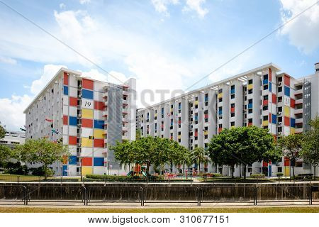 Singapore-22 Feb 2019:singapore Colorful Hdb Residential Building Facade View