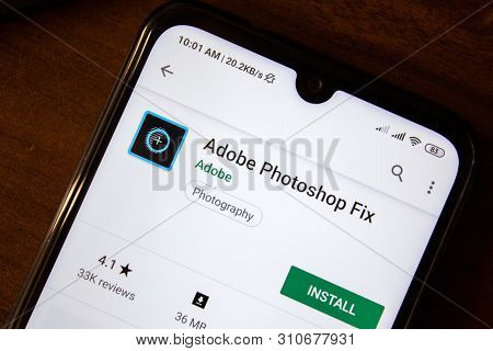 Ivanovsk, Russia - July 07, 2019: Adobe Photoshop Fix App On The Display Of Smartphone Or Tablet