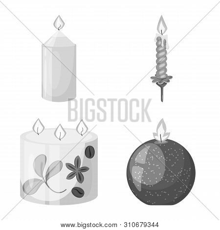 Vector Design Of Paraffin And Fire Symbol. Set Of Paraffin And Decoration Stock Symbol For Web.