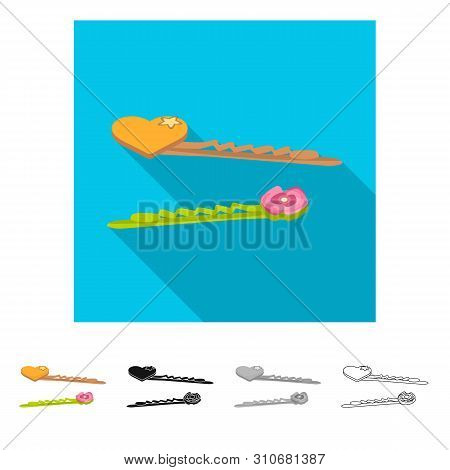Isolated Object Of Hairgrip And Heart Symbol. Set Of Hairgrip And Hairdo Vector Icon For Stock.