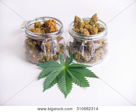 Detail of cannabis buds on clear glass jars isolated on white - medical marijuana dispensary concept