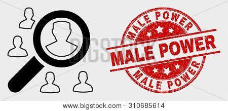 Vector Search Users Pictogram And Male Power Seal. Red Rounded Textured Seal Stamp With Male Power C