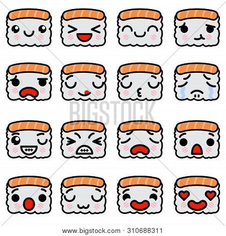 Set Of Emoji Sushi Icons With Different Emotions Vector Illustration