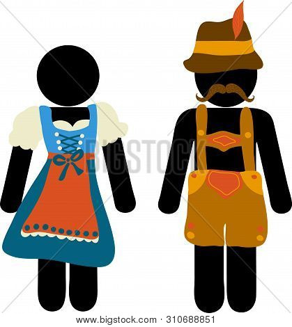 Pictogram Oktoberfest Beer Festival Greeting Card. Man And Woman Icons In Traditional Bavarian Costu