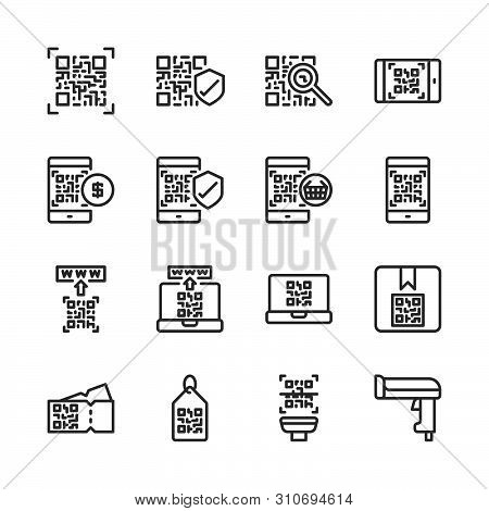 Qr Code Related In Outline Icon Set.vector Illustration