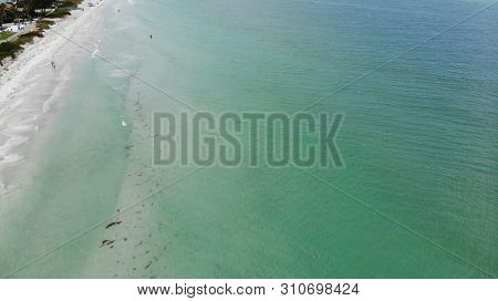 Florida Clear Blue Water Birds Eye View - Floridian Sandy Beaches Drone. City on The Beach Aerial
