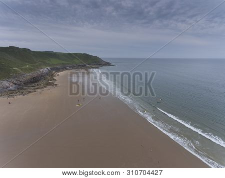 Editorial Swansea, Uk - June 24, 2019: Caswell Bay On The South Gower Peninsula, Swansea, The Most C