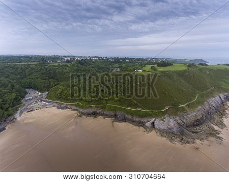 Editorial Swansea, Uk - June 24, 2019: Caswell Bay Shops And Car Park On The South Gower Peninsula,