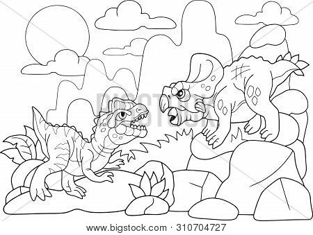 Fight Prehistoric Dinosaur Cartoons Coloring Book Funny Illustration