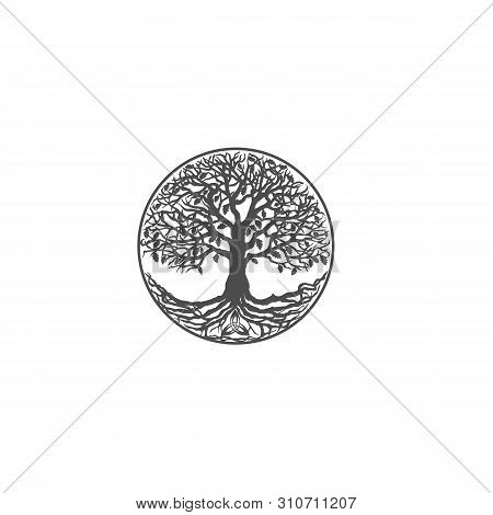 Flat design vector gray pictogram - a tree of life close-up plan isolated poster