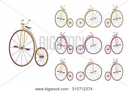 Penny Farthing Bike Set. Retro Fashion High Wheel Bicycle For Entertainment, Recreational Pastime An