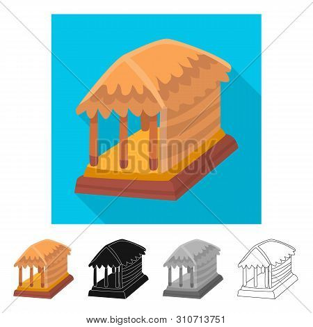 Vector Design Of Hut And House Logo. Collection Of Hut And Gazebo Stock Symbol For Web.