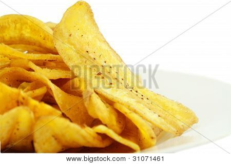 Fried thinly sliced banana chips, a tropical snack