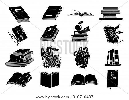 Open Books Black Silhouettes. Book Reading Icons Vector Illustration Isolated On White For Library L