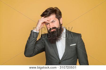 Helpless Face Expression. Stressed Businessman Has Strong Headache. Migraine, Stress, Headache, Frus