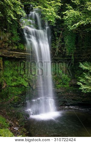 This Is A Slow Shutter Speed Picture Of Glencar Waterfall In County Leitrim, Ireland