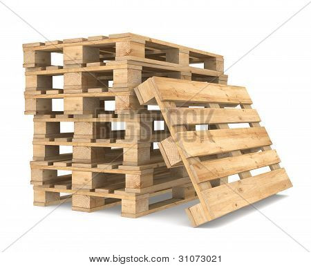 Pile of Pallets. White Backgound. CEN/EURO Standard. Part of Warehouse series. poster