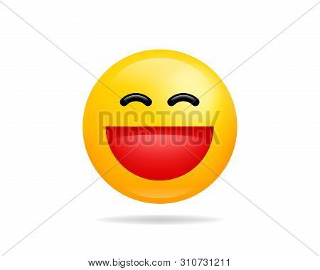 Emoji Smile Icon Vector Symbol. Grinning Face Yellow Cartoon Character.