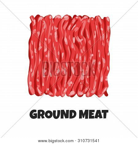 Vector Realistic Illustration Of Ground Meat. Minced Raw Meat Of Beef Or Pork Isolated On White Back