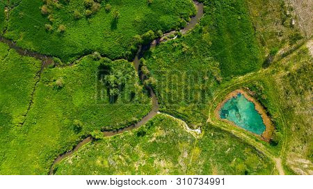 Aerial View From The Drone Of The Landscape Of Blue Mineral Lake With Clear Water. Russia, Samara Re
