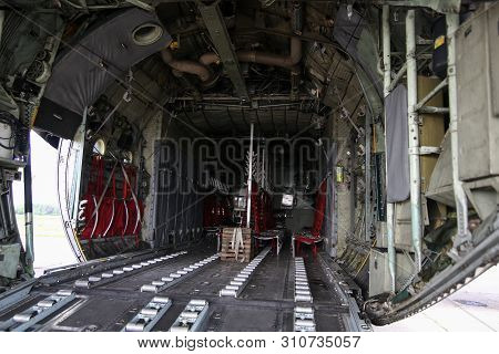 Bucharest, Romania - May 22, 2019: Details With The Interior Of A Lockheed C-130 Hercules Military C