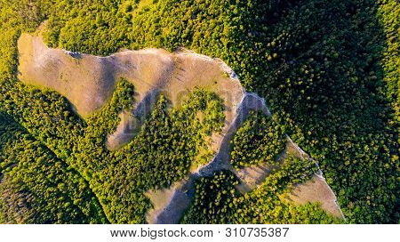 Aerial View From The Drone Of The Landscape Landscape Of Mountains With Forests. The Middle Band Of