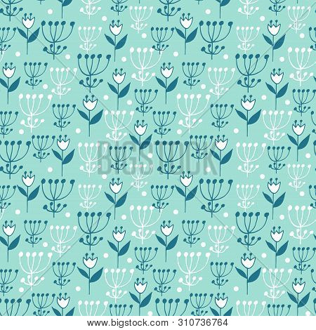 Cute Seamless Floral Pattern On Blue Background. Flowers And Dots.