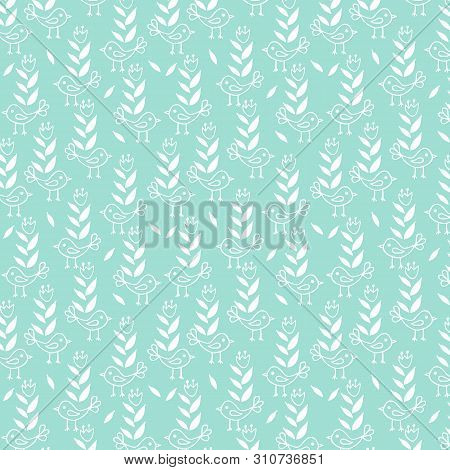 Cute Seamless Floral Pattern With Birds On Blue Background.