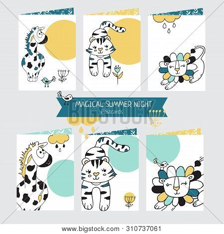 Set Of Greeting Cards With Cute Giraffe, Lion And Tiger On White Background.