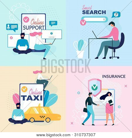 Online Services And Virtual Support Ad Posters Set. Help Assistance Guidance In Insurance, Search On