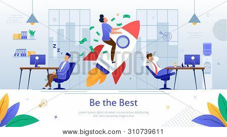 Reaching Financial Success In Business Flat Vector Banner. Businessman Taking Off On Rocketship, Rea