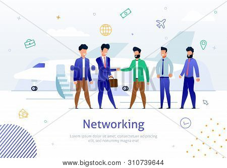 International Business Partners Networking Flat Vector Banner, Poster Template With Businessmen Grou